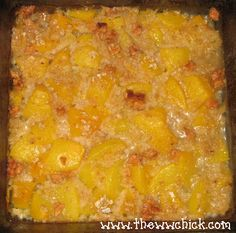 Oatmeal Peach Cobbler. 2 ingredients: 1 can No Sugar Added Peaches + 1 package WW Maple and Brown Sugar Oatmeal. Bake at 350 for 20-30 min.