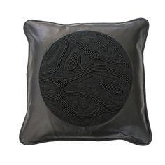 Black Circle Beaded Pillow / Stone Textile