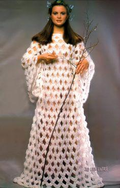 #1970's Bell Sleeve #Boho #MaxiDress Angel Wing Gown Vintage #Crochet Pattern PDF. 5.00, via Etsy.