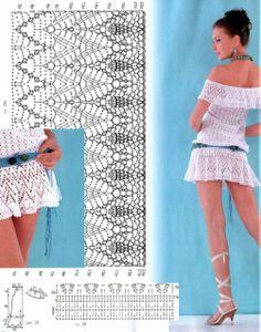 White Tunic free crochet graph pattern