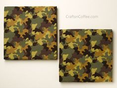Perfect for a boy's room -- DIY wall art made from camo bandanas. How to make wall art for a boy's room from foam + fabric