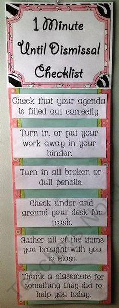 1 minute until dismissal checklist