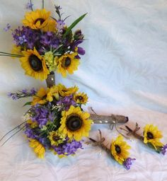 blue and purple with sunflowers
