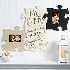 LOVE LOVE LOVE this wedding gift idea! Mr. & Mrs. Wall Puzzle Piece Frame Collection - you can keep adding as many frame pieces as you'd like and you can personalize it for free with the couple's names, wedding date and location! #weddinggift