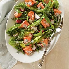 Spring Salmon and Vegetable Salad | Line your pan with foil for easy cleanup. The dressing will keep in the fridge up to one week. | SouthernLiving.com
