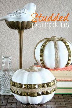 Studded Pumpkins thecraftedsparrow.com