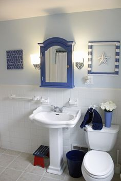 Happy Now: Bathroom Redo (nautical theme)  for Under $50.00!