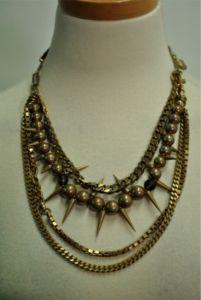 Rodrigo Otazu Multi-Chain w/ Spikes Bib Necklace