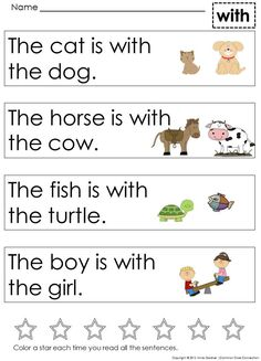 Very First Sight Word Sentences ~ High level of picture support. Designed to encourage repeated reading of text. Handy for fluency work and homework. ($)