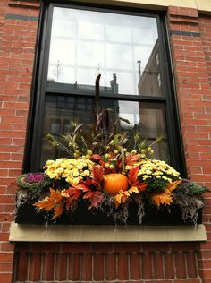 Fall Window Box, you could fun things from the Dollor store....not to expensive but fun..
