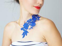 Royal Blue Necklace/ Lace Necklace/ by EPUU