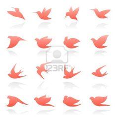Birds. Vector logo template set. Elements for design. Icon set. Stock Photo