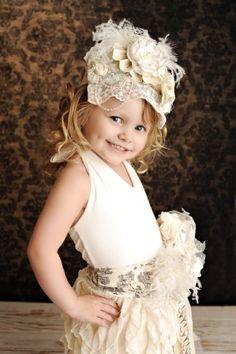 Ivory Lace Birthday Crown Bonnet - Cozette Couture