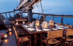 This would be.. the BEST way to have dinner romantic dinners, decks, sailing, dream, boats, dinner parties, sea, ships, sail away