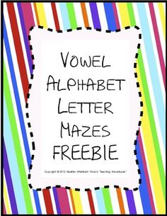 FREE - differentiate different letters by finding vowels A,E,I,O, and U in these fun mazes!