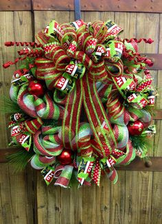 Christmas Mesh Wreath by WilliamsFloral on Etsy, $75.00