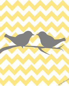 Two love birds on chevron.