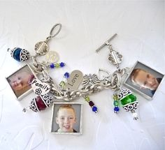 Photo bracelet with 6 color photos and birthstone colors of children by MimiandMoi, $110.00