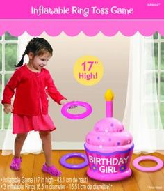 1st Birthday Girl Inflatable Ring Toss Game