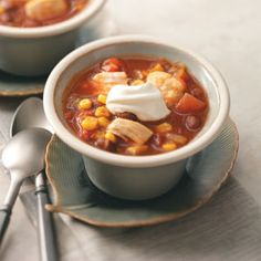 Mexican Chicken Chili Slow Cooker Recipe from Taste of Home -- Submitted by Stephanie Rabbitt-Schappacher of West Chester, Ohio