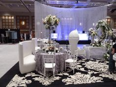 """""""Unveiled Wedding Show""""  Lounge Furniture and Sheer floating rose overlay"""
