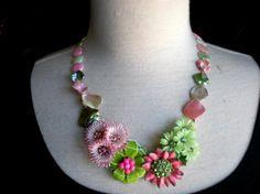 My Garden Necklace - Repurposed Vintage Earrings and Vintage Brooch