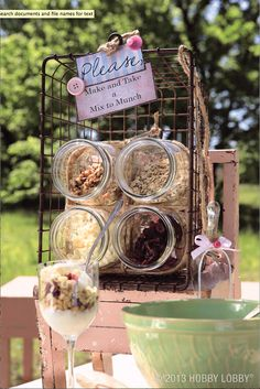 Stack mason jars in a basket to make the perfect parfait station!
