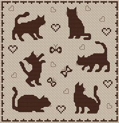 shadows - cats cats, charts, silhouettes, crosses, cross stitch patterns, crochet cat, filet crochet, cross stitches, shadows