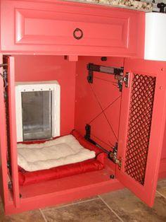 kennel & doggie door cabinet