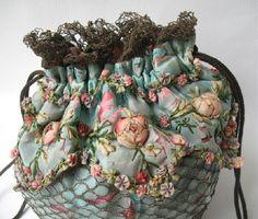 I ❤ ribbonwork . . . closeup of  drawstring purse, so pretty