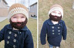 Lol! So cute.  #GroopDealz | PATTERN--Kids Ultimate Bearded Beanie