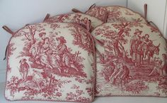 Red Toile Chair | Miriam's Sewing Studio: Red Toile Chair Pads
