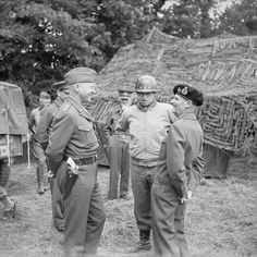 General Montgomery with Generals Patton  and Bradley at  the21st Army Group HQ, Normandy, 7 July 1944.