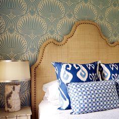 KTH designed guest bedroom with fabulous Raffia headboard.