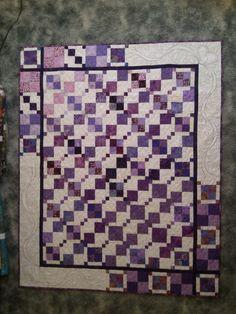 kiss quilt, purple nine patch quilt blocks, quilt idea