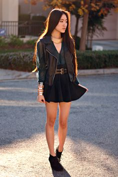 Gold Collar Necklace c/o Oasap, Faux Leather Motorcycle Vest c/o Vivilli, Forest Green Top c/o Oasap, Forever 21 Cuff, Forever 21 Belt, Black Skater Skirt c/o Romwe, White Mountain Booties