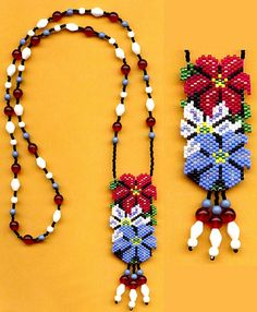 #beadwork  Clematis Flower Beaded Necklace