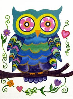 Owl Cute Wall Art for Kids Room / Nursery PAINTING NOT A PRINT