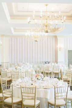 Classic & Elegant Ballroom Wedding -- See more on #SMP here -  http://www.StyleMePretty.com/mid-atlantic-weddings/2014/04/11/romantic-pink-wedding-with-stripes/ Photography: PaperAntler.com