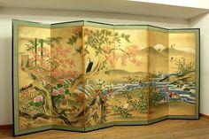 Japanese-BYOBU-folding-screen-AUTUMN-FLOWER-BIRDS
