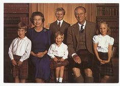 Her Majesty, Queen Elizabeth II, with Prince Phillip, Duke of Edinburgh, and their grand-children; Prince William, Prince Henry (Harry), Zara and Peter.