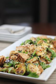 Brussels Sprouts with Tofu made with #maplesyrup and #brussels sprouts