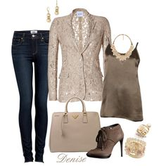 Lace Blazer, created by deniselanders on Polyvore