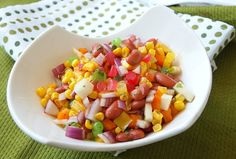 Bean and Corn Salad with Pears and Mike and Ike - What did that say!?  A little odd, but it is really good.