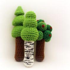 tree crochet, babi toy, three tree, trees, crochet tree, tree rattl, crochet patterns, passion, crochet rattle