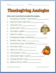 Thanksgiving analogies--requires a free account at TPT