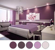 9 Wonderful Purple Bedroom Color Schemes Design Ideas Beds, Bedrooms Colors, Dreams Rooms, Bedrooms Design, Interiors Design, Purple Rooms, Master Bedrooms, Painting, Purple Bedrooms