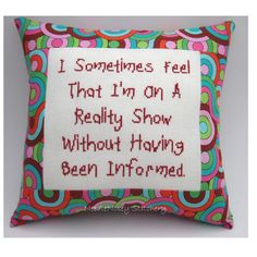Funny Cross Stitch Pillow Cross Stitch Quote Bright by NeedleNosey stitch pillow, hipster cross, funni stuff, funni quot, crossstitch, pillow funni, funny quotes, crosses, cross stitches