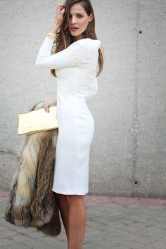 White dress, fur jacket