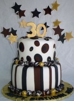 """Birthday cake for 30th or 40th - celebrate """"over the hill"""" with brown, black, white and gold."""